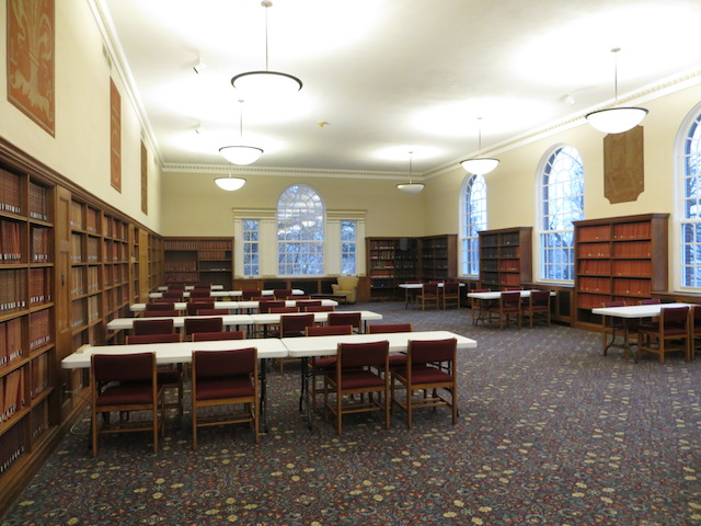 Picture of the reading room with temporary seating.